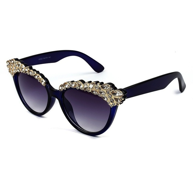 19eb380a2bfb 2016 New Grace Ladies Sunglasses Women Fashion Lots Of Little Crystal  Eyebrow Design Bling Bling Style With UV400 Lens