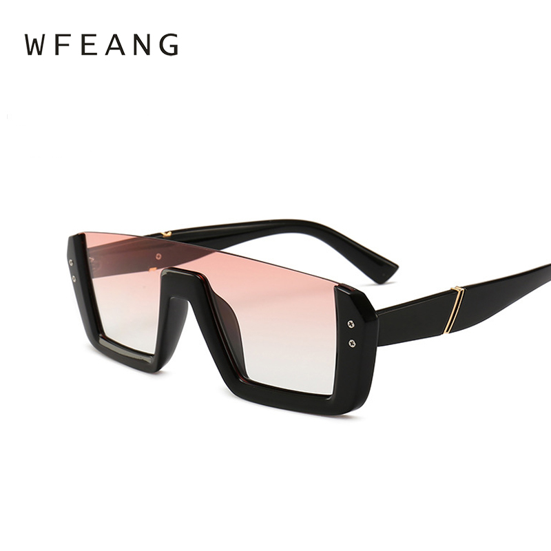 WFEANG Brand Fashion half frame One Piece woman Sunglasses Men Oversize Driving Cool Sun Glasses Square Male Oculos Eyewear