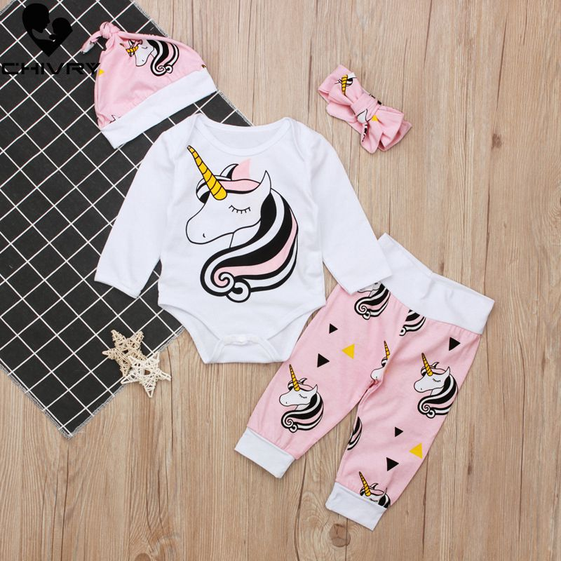 Chivry 4pcs Cute Infant Baby Girls Boys Unicorn Clothing Long Sleeve Bodysuit Top+Pants+Headband+Hat Girl Outfits Clothes Set