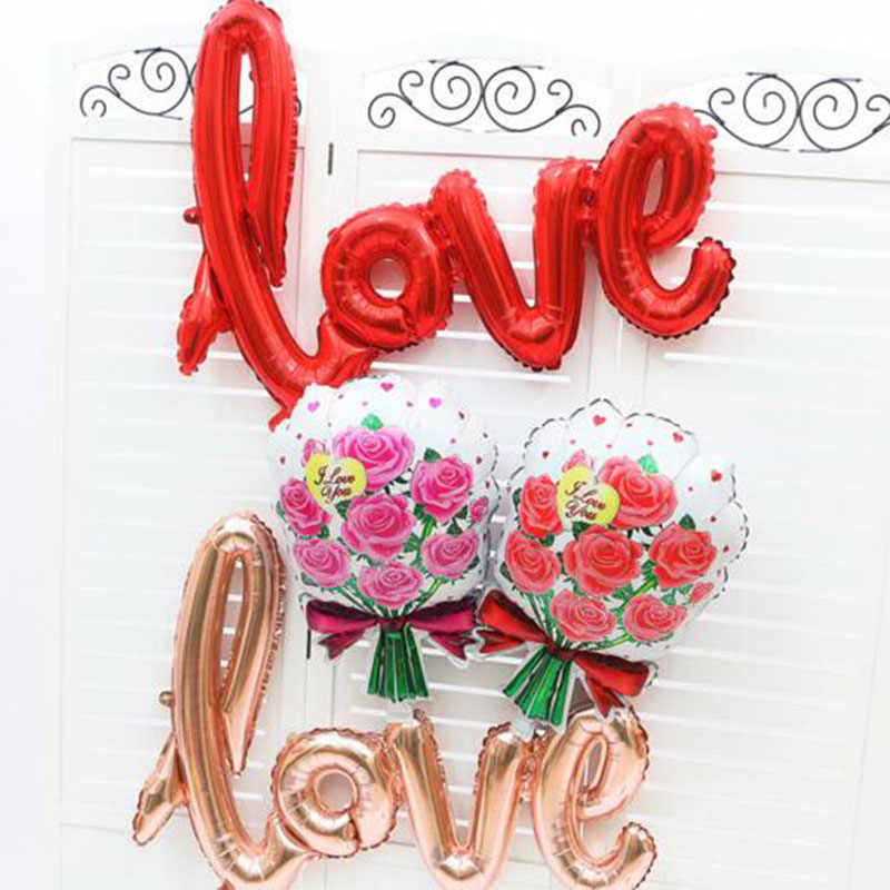 1 pc/lote grandes balões da folha do amor 108*64cm chuveiro de noiva rosa ouro balões de solteira para diy festa de casamento decoração