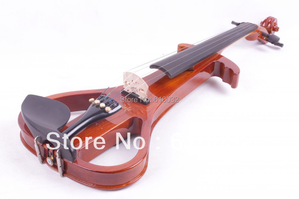 4/4 Electric Violin Solid wood Silent Pickup Fine #3-4 brown  color clarke a watch me