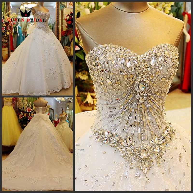 Custom Made Long Ball Gown Sweetheart Sweetheart Big Train Luksus Crystal Muslim Brial Bryllupskjoler 2017 Bryllupskjoler QB09