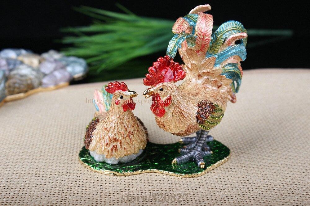 Boîte à bibelots coq & poulet décoré poulet poussin artisanat étain émail cristal poulet bibelot boîte pour bijoux anneau tenant