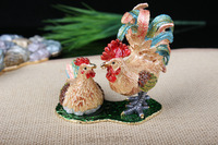 Rooster & Chicken Trinket Box Decorated Chicken Chick Crafts Pewter Enamel Crystal Chicken Trinket Box for Jewelry Ring Holding