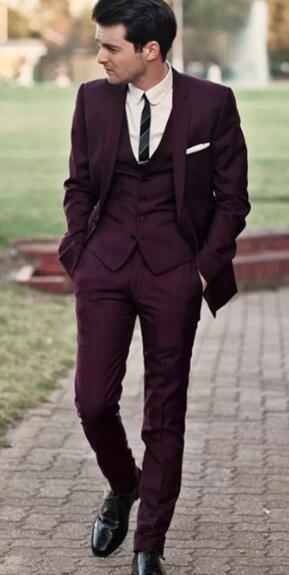 Online Shop Hot Sale Handsome Burgundy Wedding Tuxedos Slim Fit ...