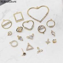 2pcs Copper Plated 18K Real Gold DIY Jewelry Accessories Material Diamond Zircon Geometric Pendant Necklace retro elegant zircon inlaid 18k gold plated pendant necklace golden green