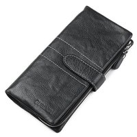 GUBINTU Leather Wallets Black Thin Card Holder Wallet Zipper Genuine Leather Men Clutch Bags Multifunctional Mobile