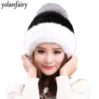 2018 Women's Natural Mink Fur Hat Warm Winter Hats for Women Large Fox Fur Pompom Autumn Bonnet Gorros Mujer Invierno MY812