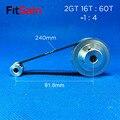 FitSain-2GT 16 T: 60T 1:4 снижение коэффициента шкива из алюминиевого сплава привод синхронного колеса с центральным отверстием 3 175/4/5/6/6. 35/8/10/12 мм