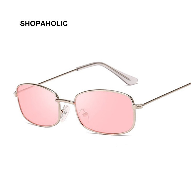 Fashion Vintage Ladies Rectangle Sunglasses Women Brand Designer Metal Luxury Rose Gold Mirror Sun Glasses Female UV400