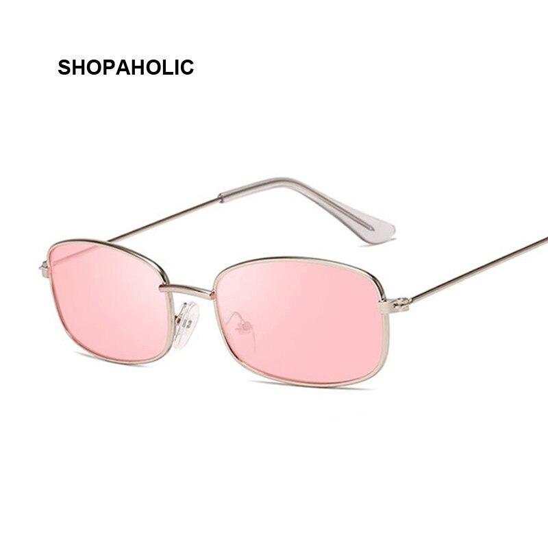 Fashion Vintage Ladies Rectangle Sunglasses Women Brand Designer Metal Luxury Rose Gold Mirror Sun Glasses Female UV400