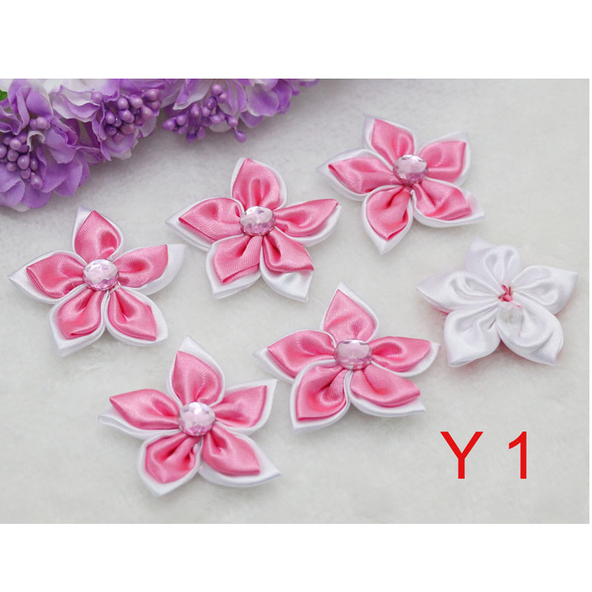 Pink DIY 20pcs Satin Ribbon Flower with Crystal Beads Wedding Appliques//Crafts