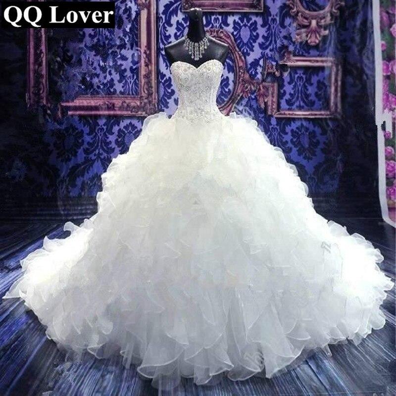 2019 New Ruffles Wedding Dress Elegant Beaded Custom-made Plus Size Bride Wedding Gown Vestido De Noiva