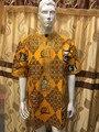 Ropa de hombre africano cera tela con cordones embrodiey top con pantalones para los hombres tienen bolsillo 11 colores TAMAÑOS MUY GRANDES