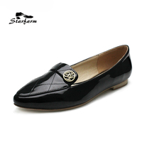 STARFARM Women Black Patent Leather Ballet Flats With Cross Suture On The Toe