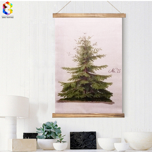 Vintage christmas tree linen painting wooden framed home