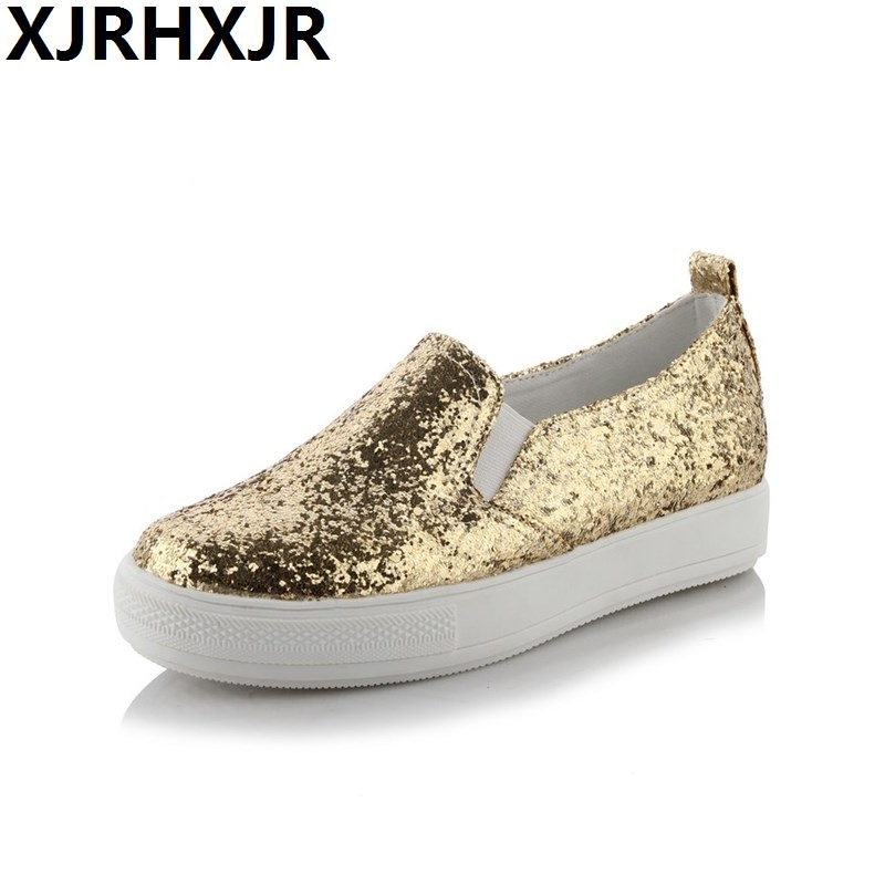 2018 Shoes Women Platform Loafers Silver Sequined Cloth Slip on Flat Shoes Spring Autumn Woman Creepers Glitter zapatos mujer vtota flat shoes for women 2017 fashion loafers platform shoes zapatos mujer slip on shoes for women casual chaussures femme b83