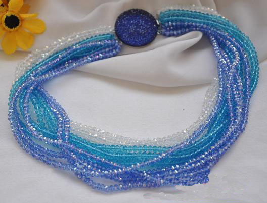 Perfect Handmade Luck Jewellery,15rows 18inches 4mm Blue Clear Faceted Crystal Beads Rainbow NecklacePerfect Handmade Luck Jewellery,15rows 18inches 4mm Blue Clear Faceted Crystal Beads Rainbow Necklace