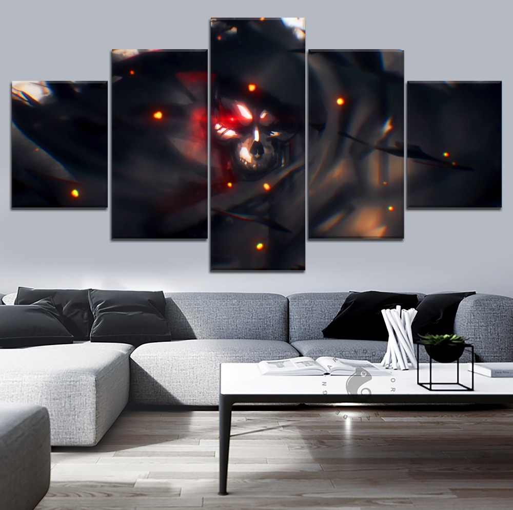 High Quality Canvas Print Type Picture 5 Panel Anime Overlord Ainz Ooal Gown Poster Modern Home Decorative Wall Artwork
