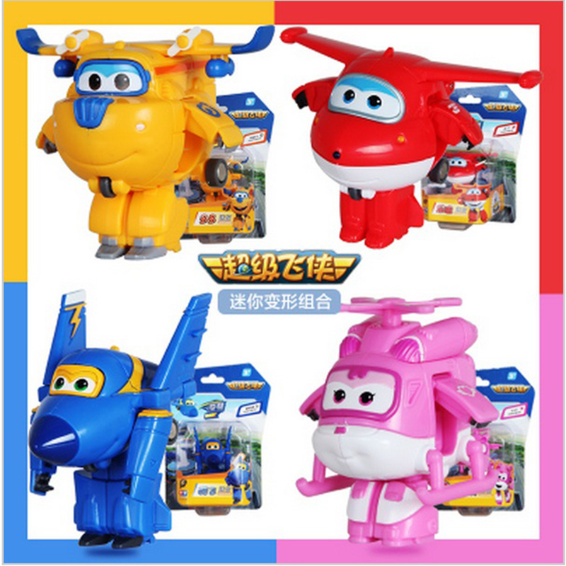 4 PCS/Set  Super Wings Deformation Mini Airplane ABS Robot toy Action Figures Super Wing Transformation toys for children gift 8 pcs set super wings action figure toys mini airplane robot superwings transformation anime cartoon toys for children boys gift