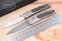JUFULE New William Henry Gentac B30 Damascus blade Titanium carbon fiber camping Pocket outdoor EDC Tool folding Kitchen knife