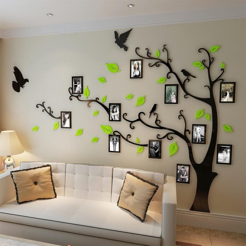free shipping photo frame tree crystal acrylic wall stickers tv sofa