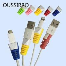 6 шт./лот защитный чехол для передачи данных защитный чехол Универсальный зарядный кабель защитный рукав USB защита для наушников l