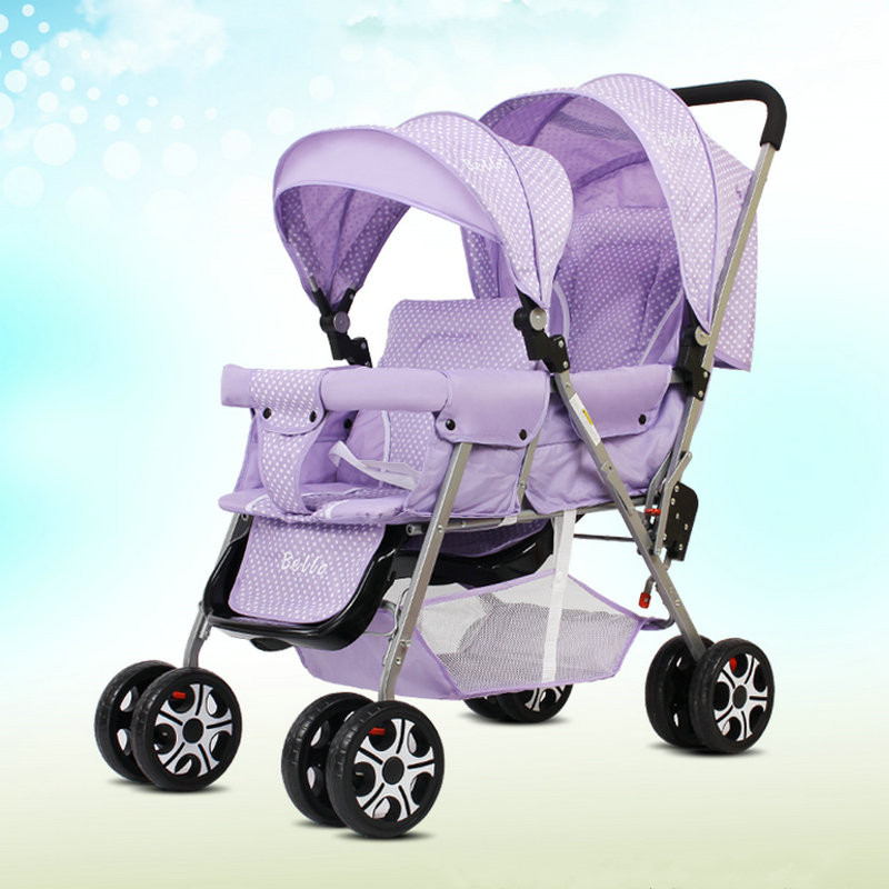 Фото Lightweight 9.6KG Twins Stroller suit for 2 kids, Folded Twins Carriage with adjust seat, purple twins stroller can sit can lie