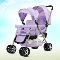 Lightweight 9.6KG Twins Stroller suit for 2 kids, Folded Twins Carriage with adjust seat, purple twins stroller can sit can lie