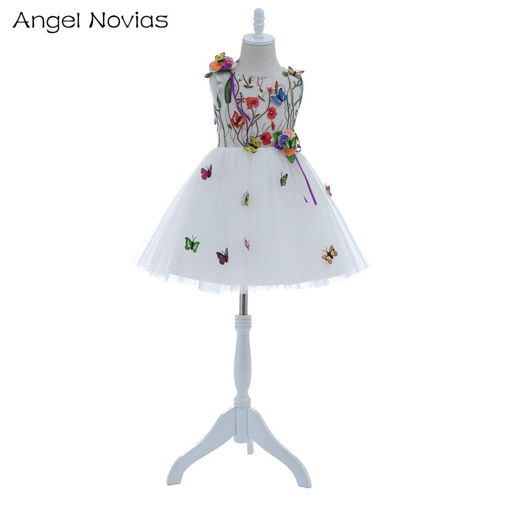 Melek ile Novias Kısa Sevimli Beyaz Çiçek Çiçek Kız Elbiseler 2018 için Kelebek Düğün Diz Boyu Çocuk Gelinlik Modelleri
