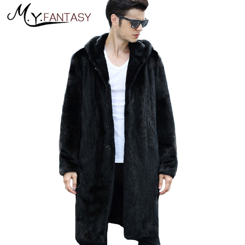 Jacket Mink-Coats Suit Real-Fur Winter Cool Man Black Collar Slim Long Zipper with Hat