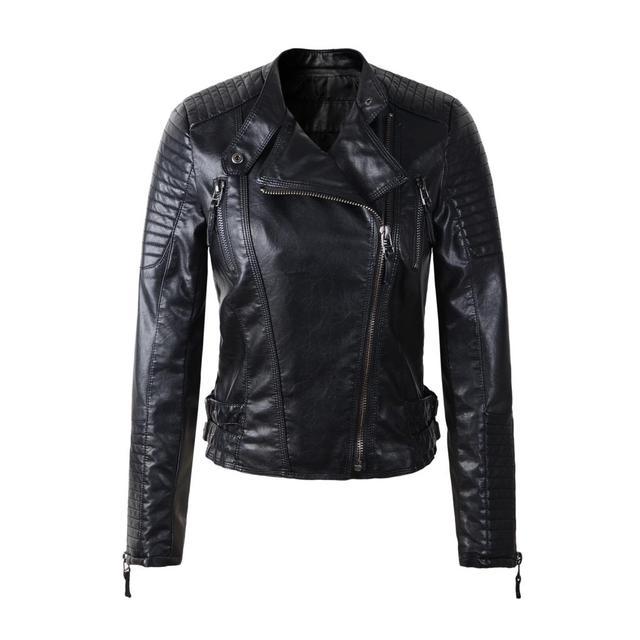 Женщины искусственной кожи куртка casacos де couro длинные рукава PU пальто черный красный желтый плюс размер XL мотоциклов байкер куртки 2015