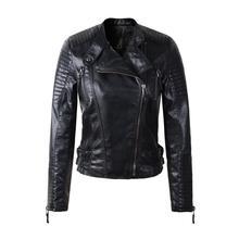 Women faux leather jacket casacos de couro long sleeve PU coat black red yellow big size XL XXL motorcycle biker jacket 2017