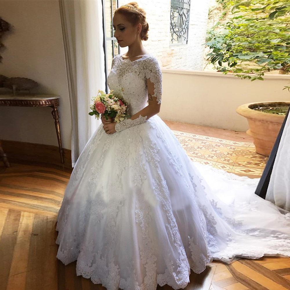 Vestido De Noiva Sexy Ball Gown Wedding Dresses White Long
