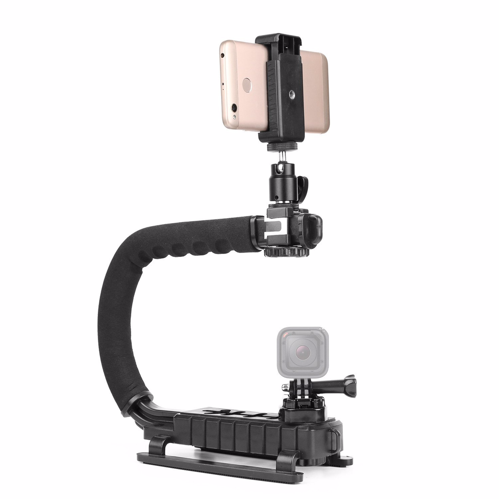 Image 3 - Pro Camera Stabilizer Triple Shoe Mount Video Holder Video Grip Flash Bracket Mount Adapter For Gopro Nikon DSLR SLR iPhone X 8-in Photo Studio Accessories from Consumer Electronics