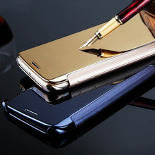 5Colors Clear View Mirror Case For Samsung Galaxy S6 S7 edge S8 S9 Plus S8+ S9+ Note 8 9 Leather Flip Stand Cover Smart Cases