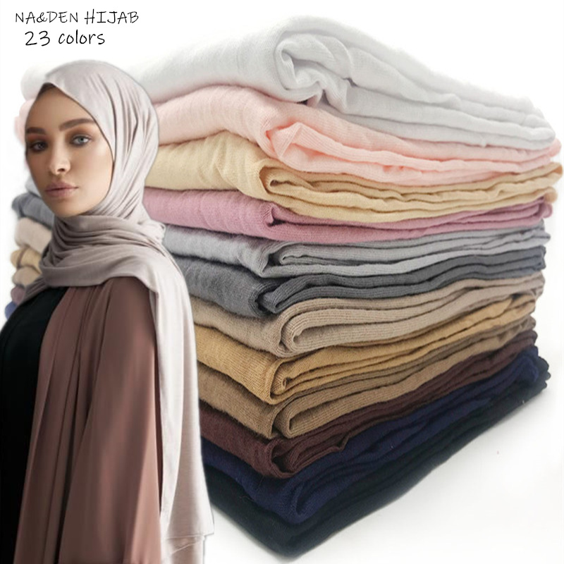 high quality Jersey cotton Hijab scarf stretchy women muslim plain head scarf fashion breathable scarves modest