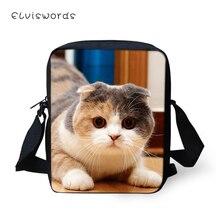 ELVISWORDS Women Fashion Messenger Bags Little Kawaii Fold Cats Pattern Girls Flaps Cross Body Travel Mini Purses