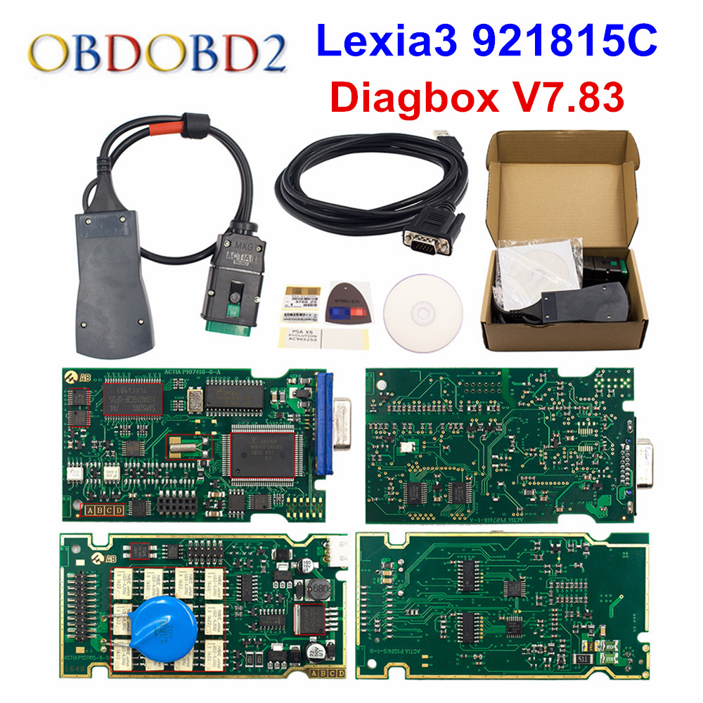 Oro Lexia 3 Chip completo Lexia3 Diagbox V7.83 PP2000 V48/V25 Lexia-3 Firmware 921815C para Peugeot/Citroen Auto herramienta de diagnóstico