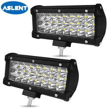 Aslent 7 inch 72W 7200lm 3 rows Led Work Light led Bars Spot Beam for Driving Offroad Boat Car Tractor Truck 4x4 SUV ATV 12V 24V