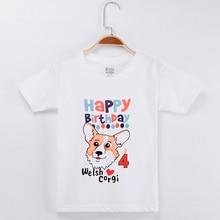 2019 Boys T-shirt Girl Happy Birthday Welsh Corgi Dog Top Cotton Half Children Clothing Kids T Shirts Girls Tops Baby Boy Tshirt