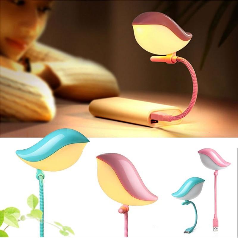 Lovely Flexible USB LED Lamp Bird Shaped Home Night Lights Novelty Gift Bedroom Desktop