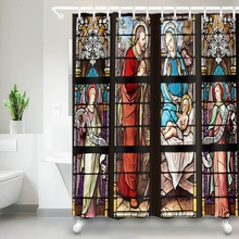 LB Window Grille Jesus Nativity Shower Curtain Christmas Bathroom Waterproof Mildew Resistant Polyester Fabric For Bathtub