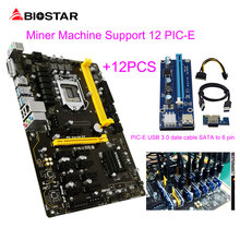 BIOSTAR TB250-BTC PRO 12PCIE+12Pcs Riser Card Can 12 Video Card Mining Motherboard For BTC Miner Machine Bitcoin ETH ZEC ETC XMR