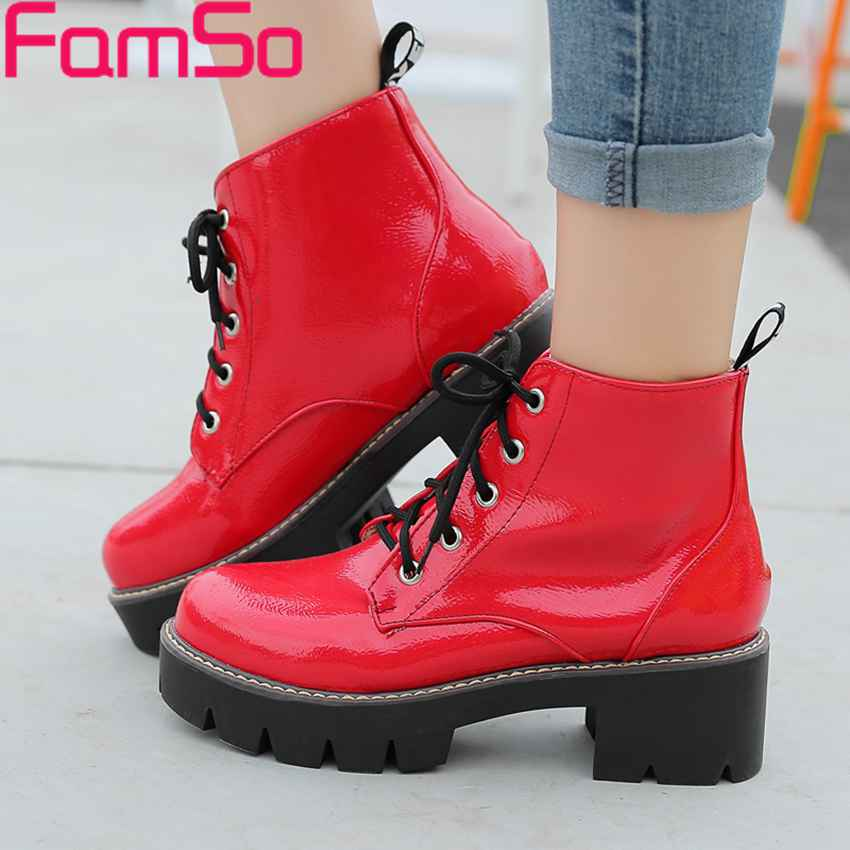 Plus Size 34 43 2016 New Classics font b Women b font Martin Boots Black red