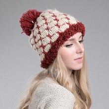 Женская Мода Зима Теплая Вязания Шапочки Ручной Работы Вязаная Шапка Шапка