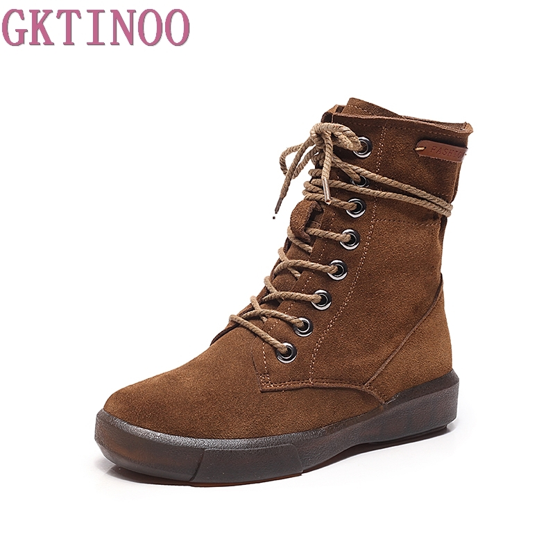 GKTINOO 2018 Autumn Shoes Women Mid-calf Boots Genuine Leather Flat Heel Lace Up Cow Suede Woman Boots Winter front lace up casual ankle boots autumn vintage brown new booties flat genuine leather suede shoes round toe fall female fashion