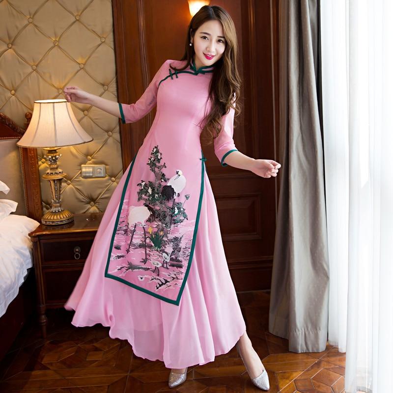 2019 nouveau ao dai cheongsam folk style vietnam mousseline de soie aodai gracieux collier de stand élégant Femmes Robe Traditionnelle Chinoise