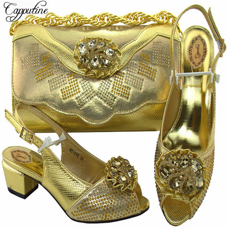 Capputine Italian Decorated With Rhinestone Shoes And Bags Set Hot Selling African Shoes And Bag Set For Party Dress MM10582 italian visual phrase book