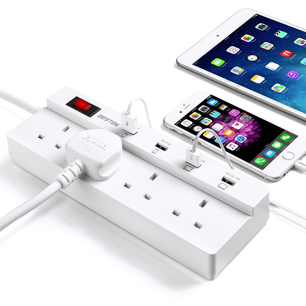 ФОТО 250V 13A UK Plug Power Strip With USB Port 5V 6A USB Charging Station For Phones/iPad 1.8m Cable Extension Socket White BESTEK
